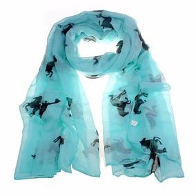 Bufanda Con Diseño De Caballos, Color Azul Turquesa
