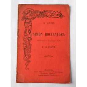Antiguo Impreso Letra Opera Simon Boccanegra Verdi Circa1910