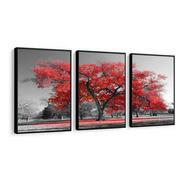 Quadro Árvore Da Vida Vermelha Moderno Lindo Sala Hall 120cm