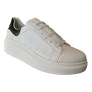 Sneakers Tenis Casuales Mujer Mu 028 Punta Redonda Blancos