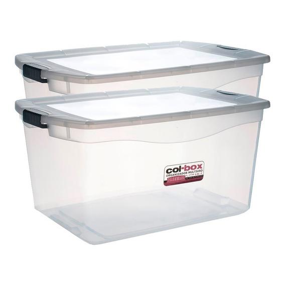 Caja Organizador Plastico Apilable Tapa Taper 68 Litros X 2 Colombraro