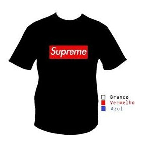72a5a0bec Camisa Camiseta Supreme Infantil Preta Personalizada Logo