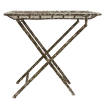 Mesa Aparador De Apoio Bambu E Ferro C/ Branco Envelhecido