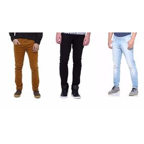 Kit 3 Calças Jeans Masculina Skinny Com Lycra - Coloridas