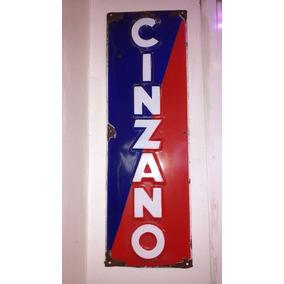 Cartel Chapa Enlozada Cinzano Antiguo Excelente Unico !!!!