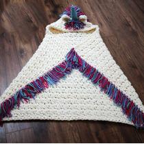 Manta Con Capucha Unicornio - Adultos / Niños - Crochet