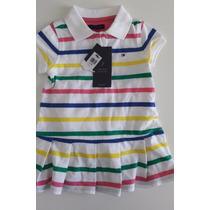 Vestido Polo Tommy Hilfiger Bebê Listrado Menina Original