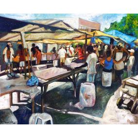 Pintura Antiga Feira Mercado Óleo Sobre Tela Quadro Acrílico
