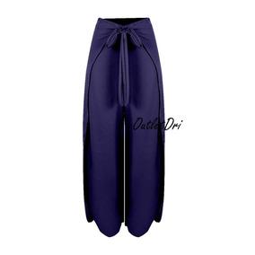 Calça Pantalona Pantacourt Detalhe Envelope Soltinha Fenda