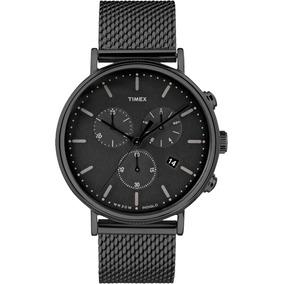 Reloj Timex Crono Luz Caballero Tw2r273 Acero Negro Original