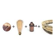 Portalampara Con Lampara Filamento Y Cable Textil Con Floron