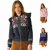 Chamarra Mujer Bomber Jacket Olanes Y Flores Rack & Pack