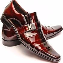 Sapato Social Masculino Casual Couro Verniz Alto Brilho