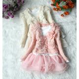 Vestido Infantil Casaquinho + Vestido Rosa