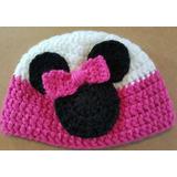 Gorro En Crochet Para Bebé Minnie. Contorno Cabeza 39-41 Cm