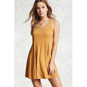 Forever 21 Vestido Trapecio Transparencias Escote Amarillo L