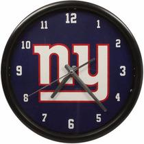 Nfl New York Giants Clock Reloj Pared Original Borde Negro