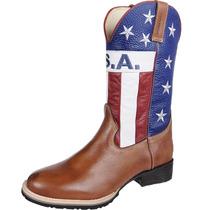 Bota Cowboy Masculina Texana Silverado Americana Couro Láte