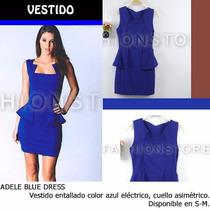 *fashionstore* Adele Blue Dress. Vestido Azul Entallado.