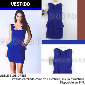 *fashionstore* Adele Blue Dress. Vestido Azul Entallado.