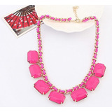 Maxi Collar Con 6 Figuras Geometricas Rosadas Docena