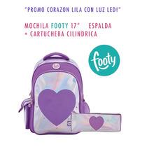 Promo Mochila Luz Corazon Violeta + Cartuchera Shopfooty