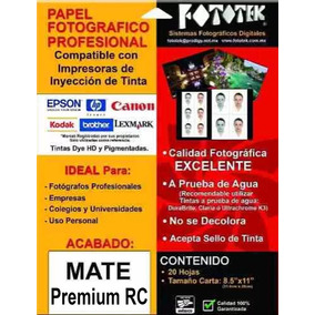 Papel Fotográfico Mate Premium Rc Tamaño Carta 20 Hojas