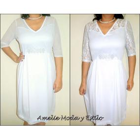 Vestido De Novia Blanco Boda Civil Tallas Hasta La 5xl