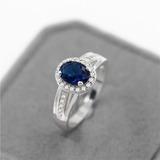 Anel Feminino Prata Pedra Azul Zircon Envio Imediato