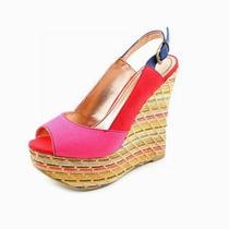 Sandalias Con Terraplen Color Rosado N°37