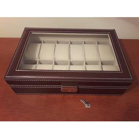 Caja Estuche Para Guardar 12 Relojes. (con Bisagra De Metal)