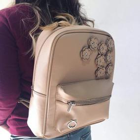 Mochila Nude Flores Tipo Piel Backpack Moda Envio Gratis