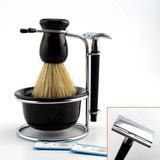 Kit Barba Vintage Retrô Barbearia Navalha Pincel Banheiro Pr