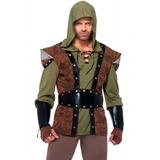Fantasia Masculina Adulta Luxo Robin Hood Capuz Luvas E Bota