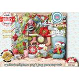 Kit Imprimible 173 Diseños Fondos Figuras Navidad Papa Noel