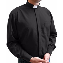 Camisa Clerical Em Microfibra Manga Longa