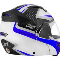 Capacete V-pro Jet 2 Carbon Branco/azul-58