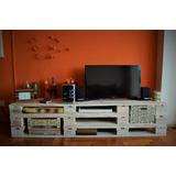 Mueble De Palet Para Tv De Living Con Estantes