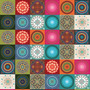 Tecido Adesivo Mosaico Mandala Mix 30x50cm. Flok