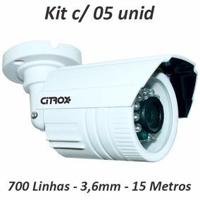 Kit 5 Câmera Cftv Citrox 700 Linhas Infra 15 Mts Lente 3,6mm