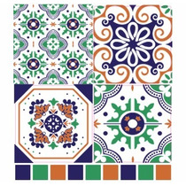 Azulejos Adhesivos De 15x15 Cm Patchwork Portugues Verde