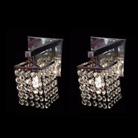 Kit C/ 2 Arandelas Parede Lustre Cristal Legitimo Interna G9