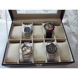 Caja Estuche Coleccion 10 Relojes Pu Importada Forrada Pana