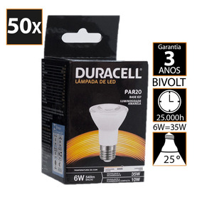Kit Com 50 Lâmpadas Led Duracell Par20 Amarela 6,0w