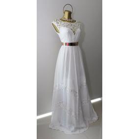 Vestido Blanco Largo De Fiesta O Bodas Con Cinturon Metal.