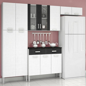 Cozinha Modulada Completa Alfa - Branco/preto - Kits Paraná