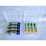4 Pilas Recargables Aa O Aaa + Caja Porta Pilas Baterias