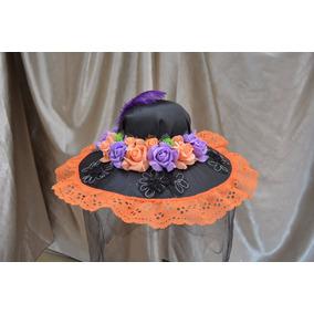 Sombrero Catrina Adulta Dia Muertos Halloween Disfraz Naranj