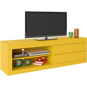 Bancada Estante Tv Lcd Led Rack Amarelo Home Painel Estante