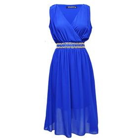 Vestido Sin Mangas Con Cintas Dama Mujer Azul Rey 8330 Zoara
